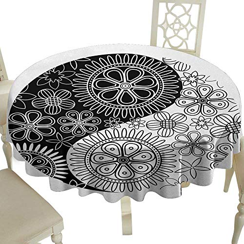 Cranekey The Restaurant Round Tablecloth 70 Inch Ying Yang,Flower and Petals Art Yoga Themed Asian Decorations Asian Cultural Floral,Black and White Great for,restauran & More