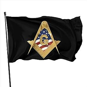 Voglawear American USA Flag Square & Compass Masonic Freemason 3x5ft Garden Flag, Home Flag, Outdoor Lawn Decoration Banner