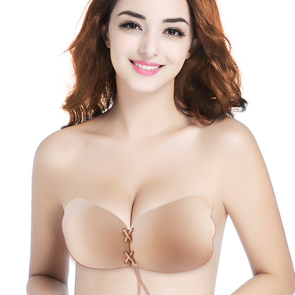83da292948531 Holisouse Meinaier Sticky Invisible Self Adhesive Strapless Backless Push  up Bra at Amazon Women s Clothing store