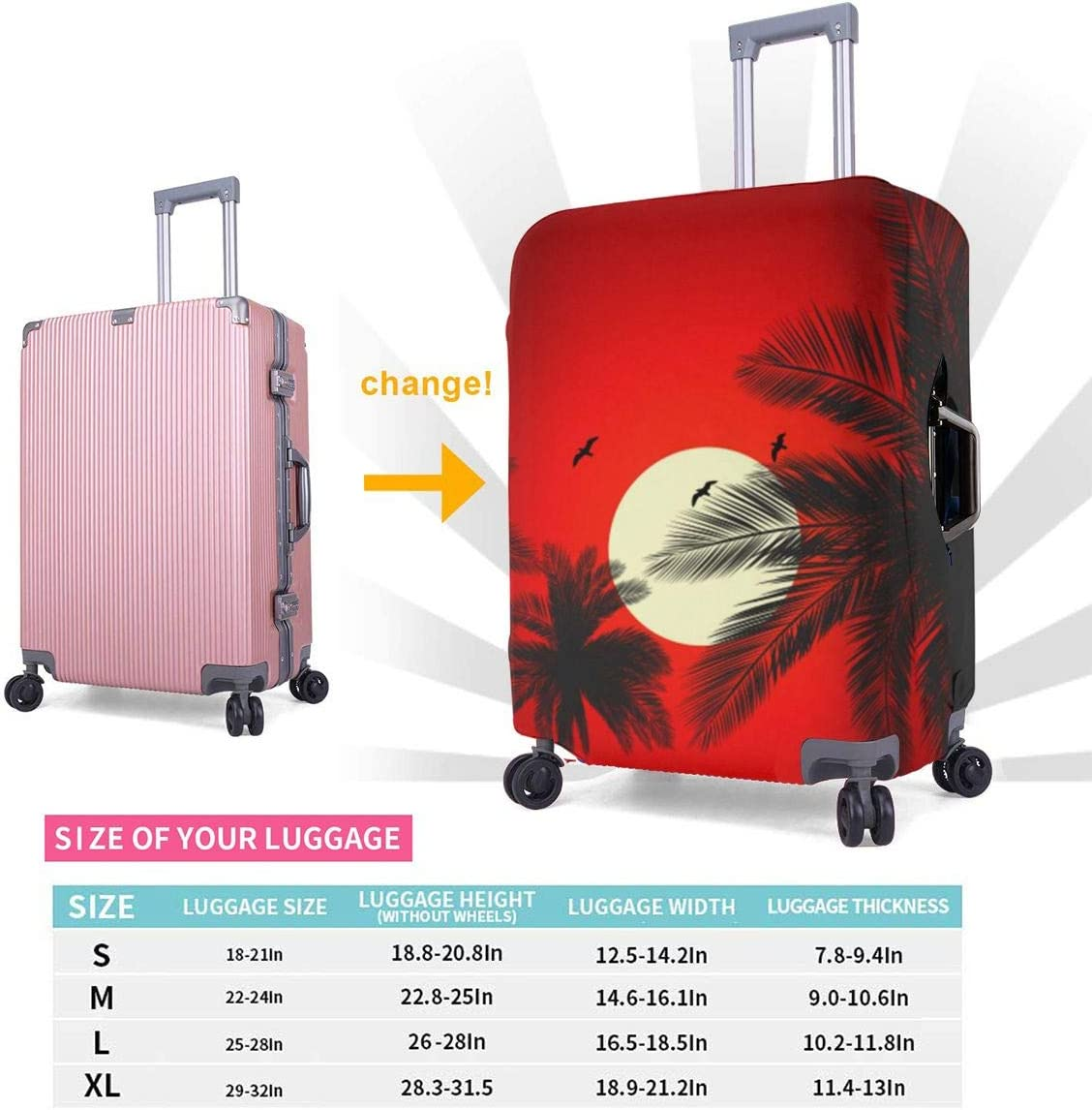 Fashion Luggage Covers Suitcase Protector Jacket Dust-proof Anti-thief Case S M L XL for 18-32 inch Luggage Palm Tree Sunset XL