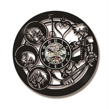 Kingdom Hearts Personajes Vinilo Relojes de Pared 3D Decorativo Reloj de Registro LED Creative Vinilo Record