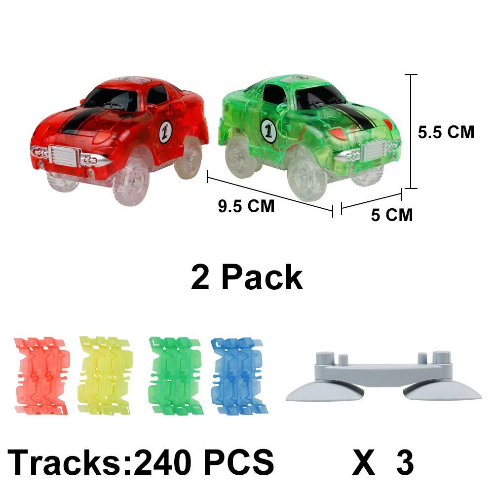 Pista Macchinine Luminosa Elettriche Auto Giocattolo Flessibile Pista Macchinine Colorate Carrera 240 Pezzi con 2 Glow Cars per Bambini 3 4 5 6 Anni