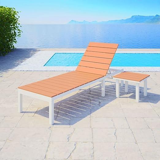 dondans - Muebles de jardín, Asientos de Exterior, Tumbona con Mesa de Aluminio WPC Blanco y marrón, Material: Aluminio + WPC (Compuesto de Madera y plástico): Amazon.es: Jardín
