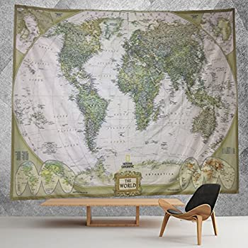 Amazon hmwr world map tapestry wall hanging retro antique hmwr ancient world map tapestry wall hanging art decor light weight polyester fabric wall throw artwork home decoration for living room bedroom dorm 60x40 gumiabroncs Choice Image