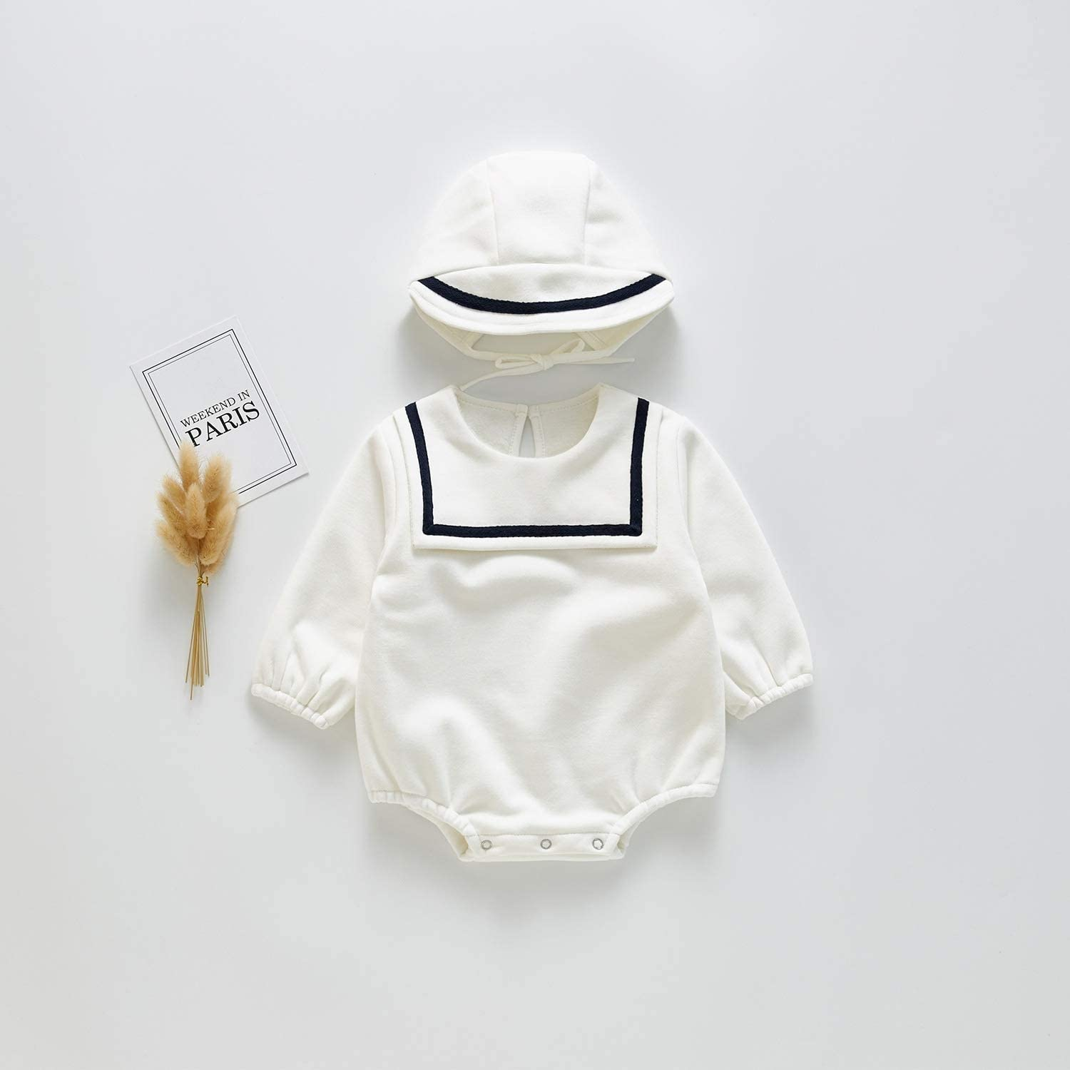 Baby Navy Collar with Hat Plus Velvet Jumpsuit Romper Kids Clothes Outfit