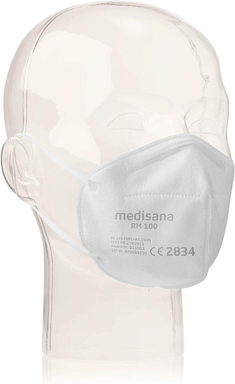 Medisana 33333 RM 100 FFP2/KN 95 Mascarilla de protección respiratoria Máscara antipolvo Máscara antipolvo de 3 capas Máscara facial 10 piezas empaquetadas individualmente en una bolsa de PE