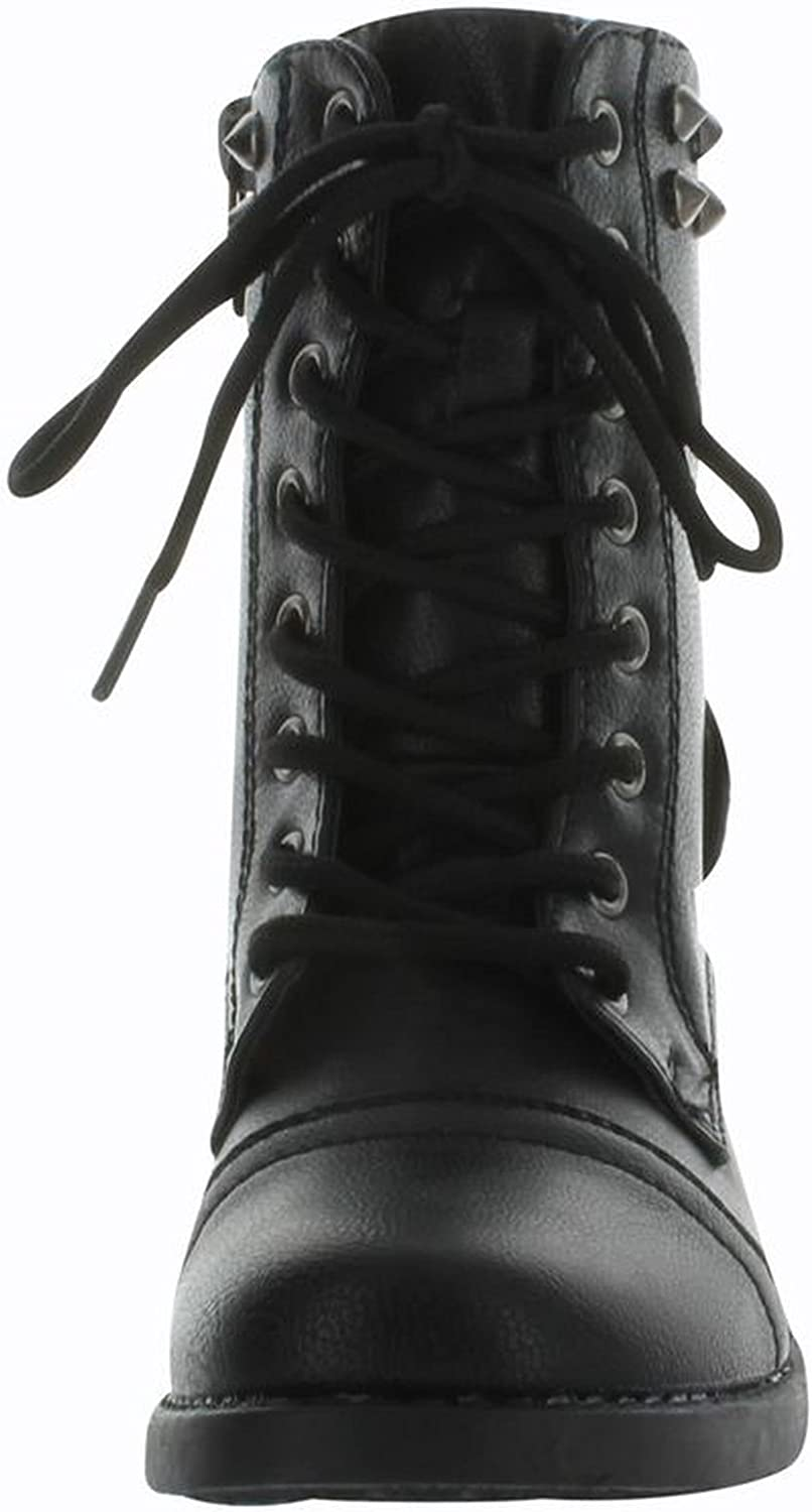 CC Andrea-37K Girls Jr Combat Studded Fashion Tall Boots