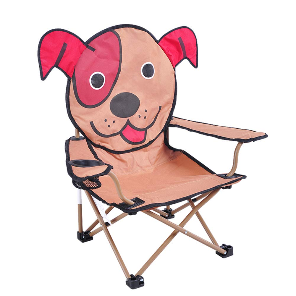 Fitlyiee Folding Camp Chair with Cartoon Pattern Breathable Materials Beach Chair for Kids (Dog)