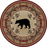 """Cheap Rug Empire Rustic Lodge Bear Red 8′ Round Area Rug, 7'10"""""""