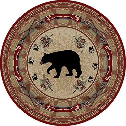 Rug Empire Rustic Lodge Bear Red 8' Round Area Rug, - Area 8' Pinecone Round Rug