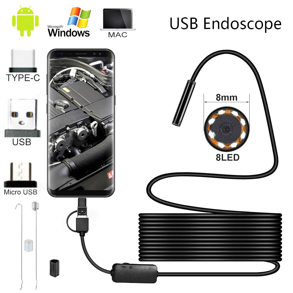 USB Endoscope 3 in 1 Borescope USB//Micro USB//Type-C Waterproof Inspection Snake Camera with 6 LED Lights for Android,Samsung,MAC,Laptop,Windows 5m