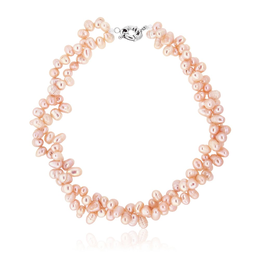 Amazing Pink Double Twist Freshwater Pearl Necklace 16'' Pearls:8mm