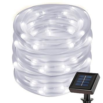 Amazon le 2297ft solar rope string lights waterproof ip55 50 le 2297ft solar rope string lights waterproof ip55 50 led 6000k daylight aloadofball Choice Image