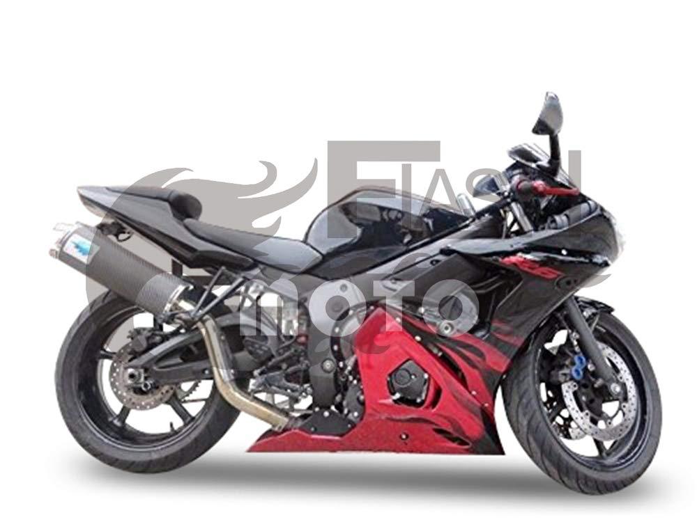FlashMoto yamaha ヤマハ YZF-1000 R1 2002 2003用フェアリング 塗装済 オートバイ用射出成型ABS樹脂ボディワークのフェアリングキットセット (ブラック,レッド)   B07LF2TZC5