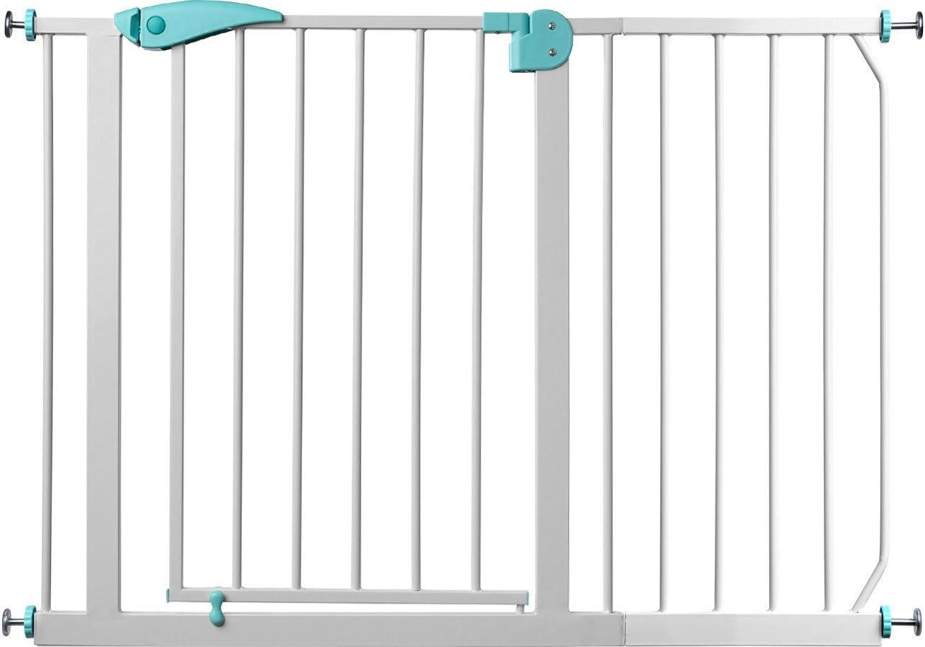 Auto-Close| 85-95 cm Barri/ère de s/écurit/é des escaliers et des portes Berrin |le meilleur rapport qualit/é-prix 75-175 cm Blanc-Turquoise IB-Style 2x adaptateur Y