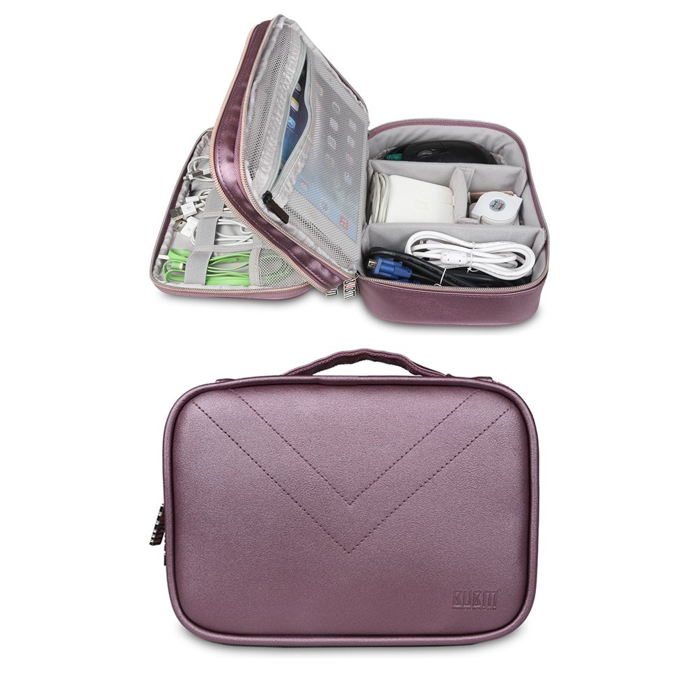 BUBM Portable Multi-functional Digital Storage Bag Electronic Accessories Travel Organizer Bag Data Cable Organizer (Purple)