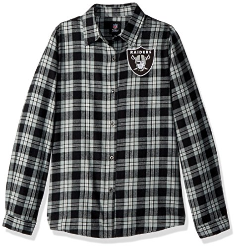Oakland Raiders 2016 Wordmark Basic Flannel Shirt - Womens M