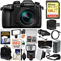Panasonic Lumix DC-GH5 Wi-Fi 4K Digital Camera & 12-60mm f/2.8-4.0 Lens with 128GB Card + Backpack + Flash + Video Light + Battery + 3 Filters Kit