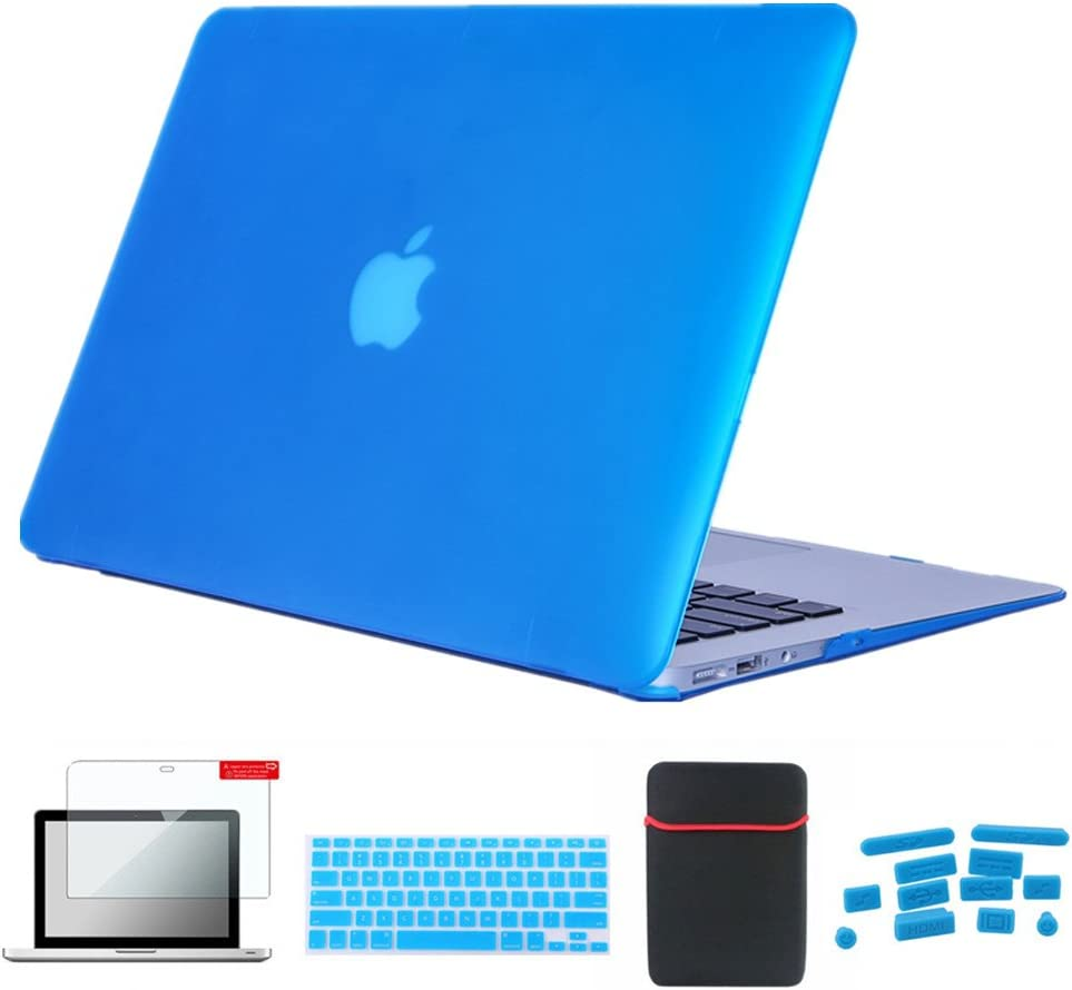 Se7enline 2010-2012 MacBook Pro Case 5 in 1 Bundle Matte Plastic Hard Shell Cover for MacBook Pro 15 inch A1286 with DVD Drive with Sleeve Bag, Keyboard Cover, Screen Protector, Dust Plug, Aqua Blue