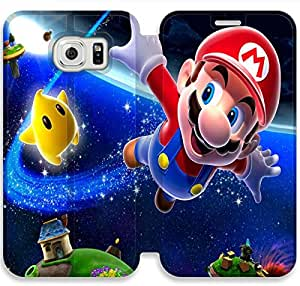 Samsung Galaxy S6 Edge Cell Phone Case Game Super Mario Bros Colorful Printing Leather Flip Case Cover A11U520325