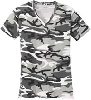 Misaky Fashion Women Casual O-Neck Camouflage Hollow Out Tops T-Shirts Plus Size XL-4XL