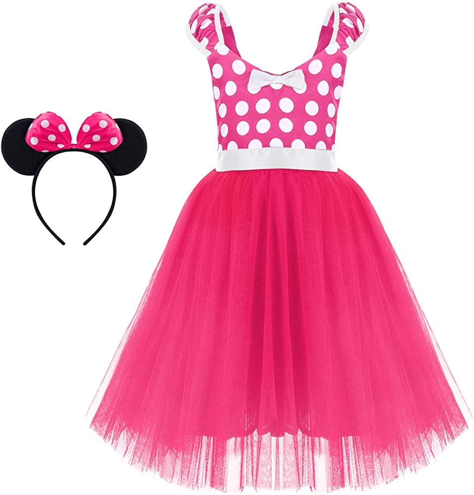 01e7dd9acaf43 Minnie Costume Baby Girl Tutu Dress Mouse Ear Headband Polka Dot First  Birthday Halloween Fancy Dress Up Princess Outfits