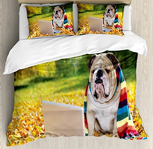 Ambesonne English Bulldog Queen Size Duvet Cover Set, Dog in the Park with a Laptop and Rainbow Colored Scarf Funny Photography, Decorative 3 Piece Bedding Set with 2 Pillow Shams, Multicolor (Multi Coloured Scarf)