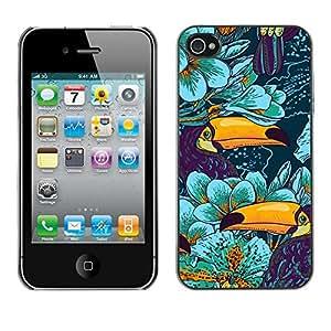 Jordan Colourful Shop - Toucan Bird Species Blue Floral For iPhone 4 / 4S Personalizado negro cubierta de la caja de pl????stico