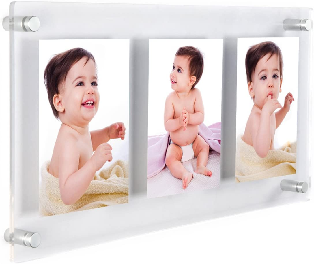 Clear Acrylic Wall Mount Floating Frameless Double Panel Picture Frame 16 Sizes