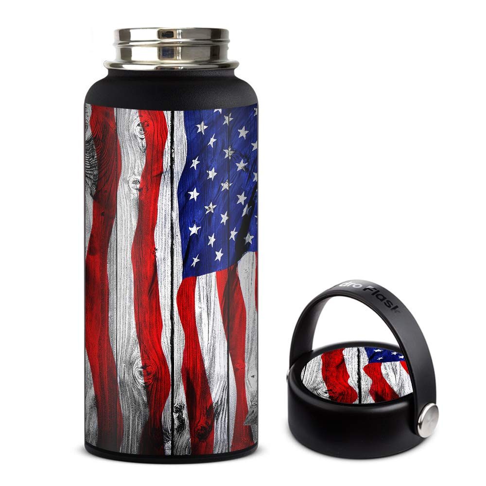Skin Decal Vinyl Wrap for Hydro Flask 32oz Wide Mouth stickers skins cover/American Flag on Wood