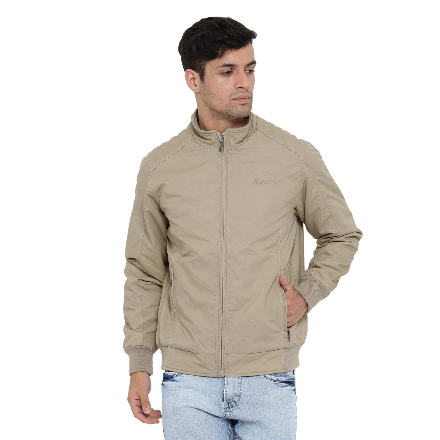 Monte Carlo Peach Solid Cotton Polo Collar Jackets