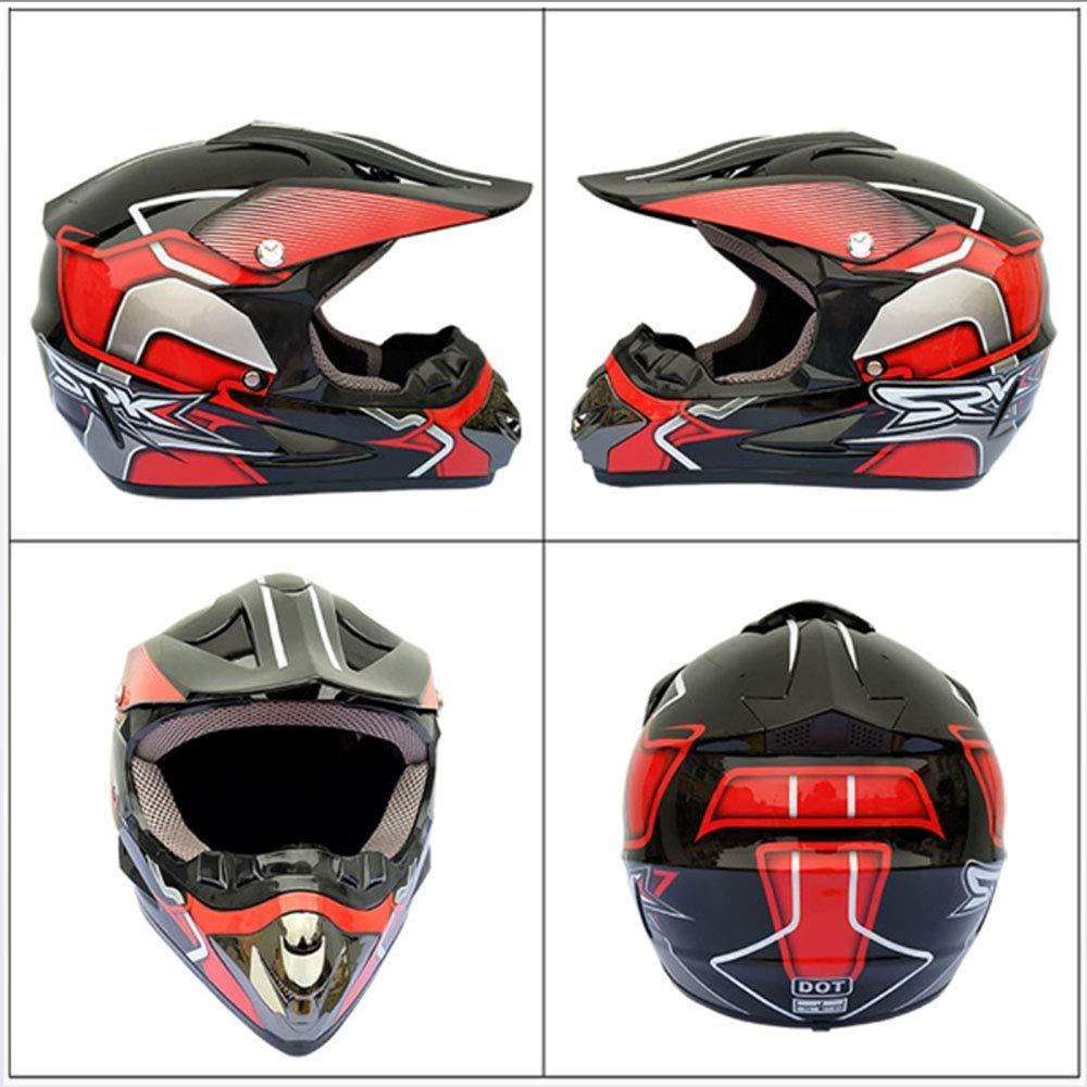Dual Sport Casque Route Motocross Dirt Bike ATV Certification Dot Endurance Race Casque//Lunettes Multicolores//Masque//Gants de Course