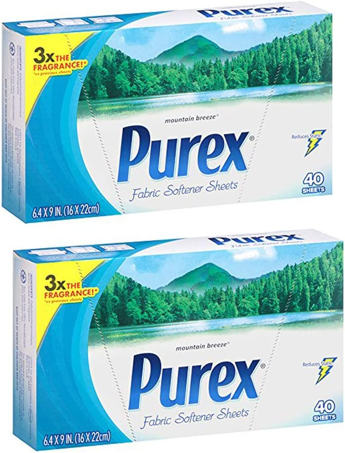 Purex Fabric Softener Dryer Sheets, Mountain Breeze, 40 Count (2-Pack)