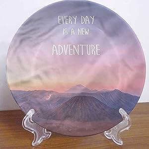 LCGGDB 10 Inch Adventure Pattern Ceramic Decorative Plate,Indonesia Scenic Land Ceramic Stoneware Decorative Plate Decor Accessory for Pasta, Salad,Party Kitchen Home Decor