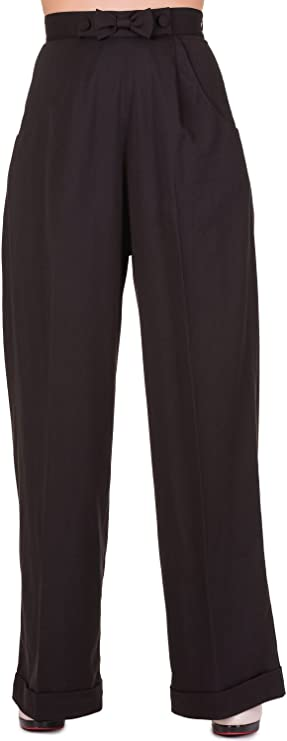 1950s Pants History for Women Banned Hidden Away PLUS SIZE Trousers - Black or Navy / 2XL-4XL £45.27 AT vintagedancer.com