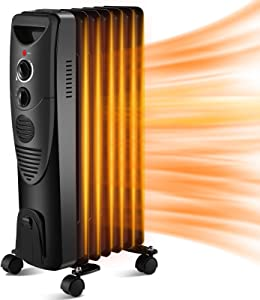 Kismile 1500W Oil-Filled Radiator Heater, Oil Heater with Indicator Lights, 3 Heat Settings, Heater with Adjustable Thermostat, Overheat & Tip-Over Protection, Portable Safety Features for Home Office