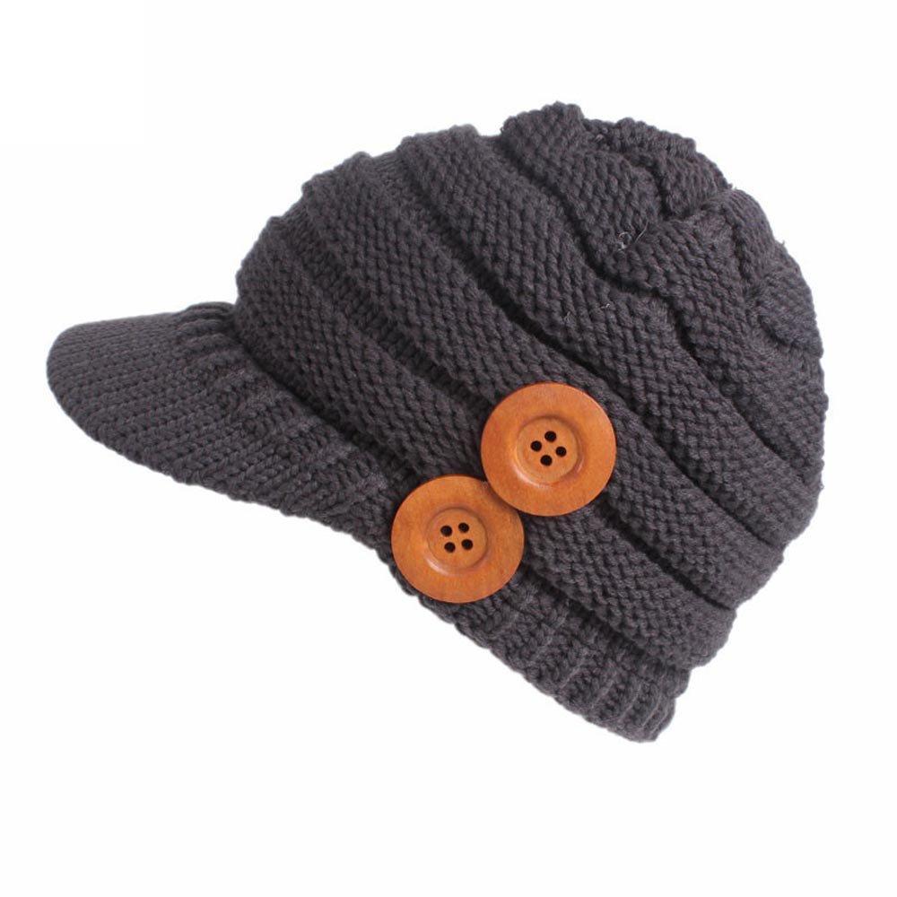 Naiflowers Women Lady Girl Fashion Elegant Winter Warm Knitting Double Wood Buckle Beret Hat