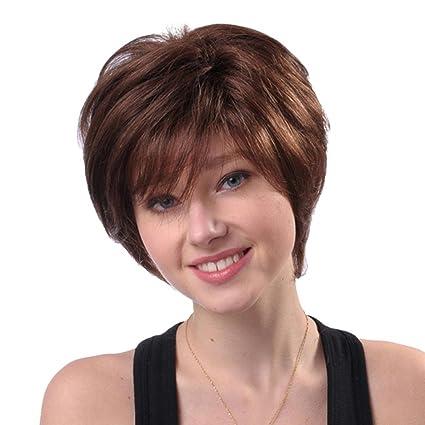 Culater Pelucas cortas naturales del pelo, Cabello humano mezclado con fibra sintética, Marrón