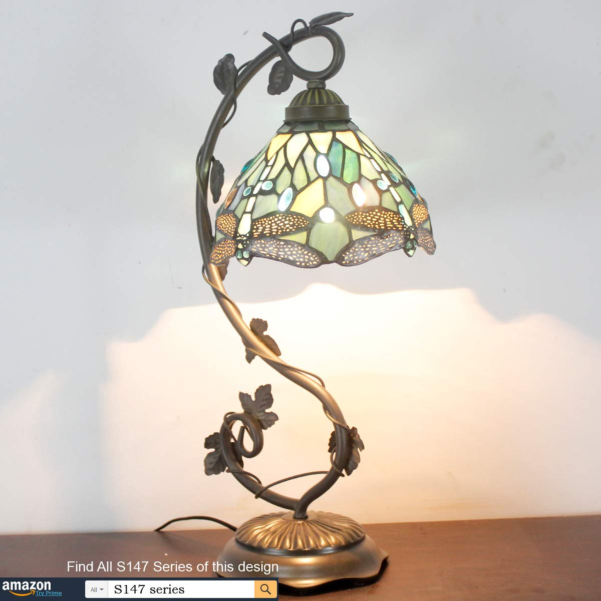 Tiffany Lamps Stained Glass Table Desk Reading Lamp Crystal Bead Sea Blue Dragonfly Style Shade W8H22 Inch for Living Room Bedroom Bookcase Dresser Coffee Table S147 WERFACTORY by WERFACTORY (Image #5)