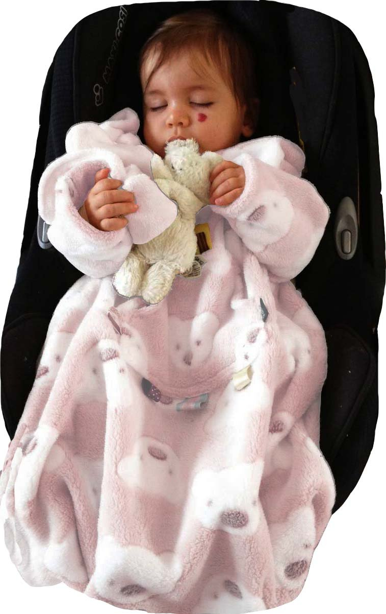 POP-ON Baby Toddler Blanket with Sleeves in Soft Cuddle Fleece for Buggy Pushchair Car Seat PINK TEDS Cozie Warmers