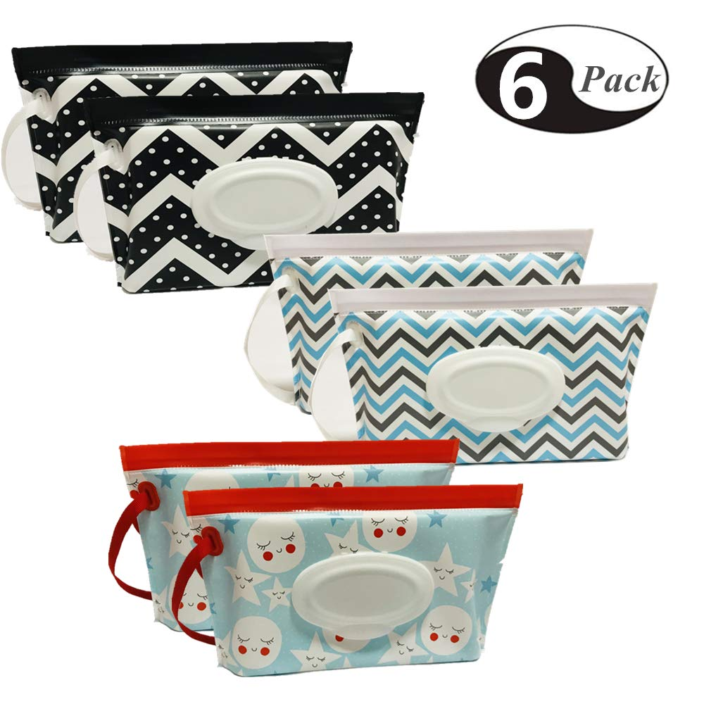 Joyous Journey [6-Pack] Portable Wet Wipe Pouch Dispenser, Eco Friendly Reusable & Refillable Baby Travel Diaper Wipe Carrying Case Holder   Keeps Wet Wipes Moist by Joyous Journey