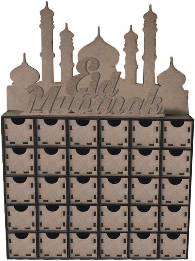 PENG en Bois MDF Eid Ramadan Mubarak Calendrier de lavent Musulman Islamique d/écorations Ornement Cadeau