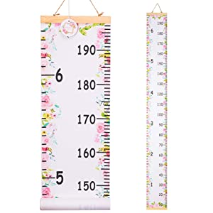 QtGirl Kids Growth Chart, Height Chart for Child Height Measurement Wall Hanging Rulers Room Decoration for Girls, Boys, Toddlers(Flower)