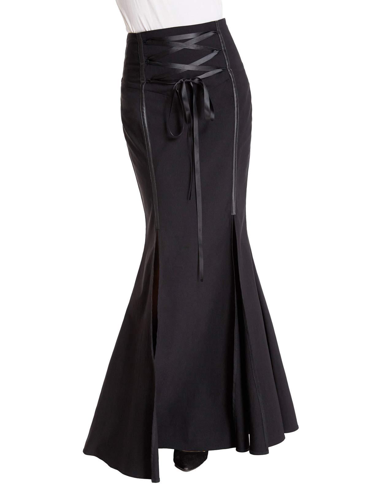 Belle Poque Black Gothic Victorian Steampunk Mermaid Fishtai Skirt for Halloween BP447-1 2XL Black