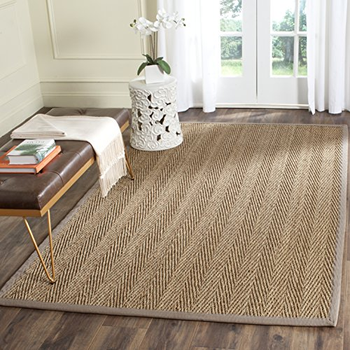 Safavieh Natural Fiber Collection NF115P Herringbone Natural and Grey Seagrass Area Rug (10' x 14')