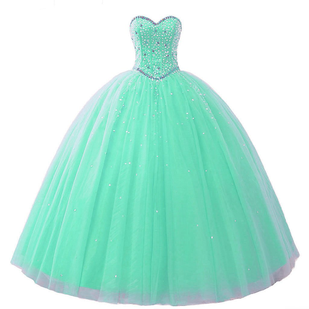 Mint Vantexi Women's Pretty Ball Gown Quinceanera Dress Beaded Prom Dresses