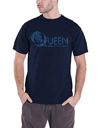 122870b8a6e Queen T Shirt News of The World Vintage Logo 40 Years Official Mens Navy  Blue XXL  Amazon.co.uk  Clothing