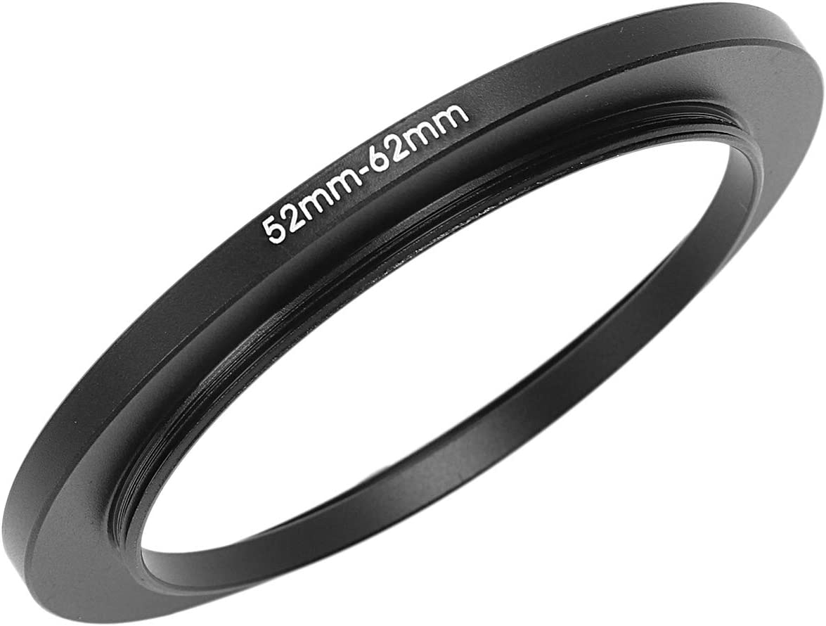 Vaorwne 52mm-62mm 52mm to 62mm Black Step Up Ring for Camera