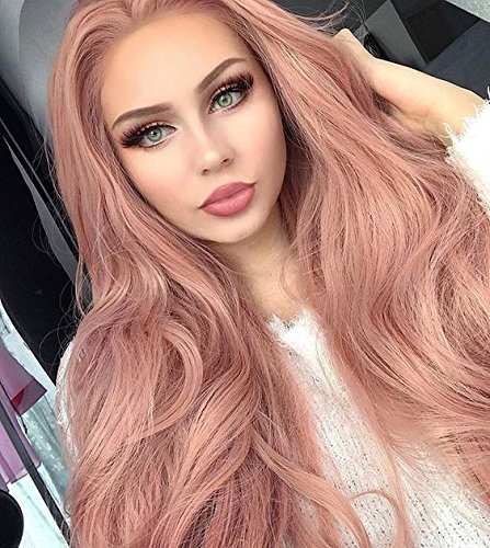 Imstyle Pink Lace Front Wigs Peach Rose Gold Pastel Pink For Women
