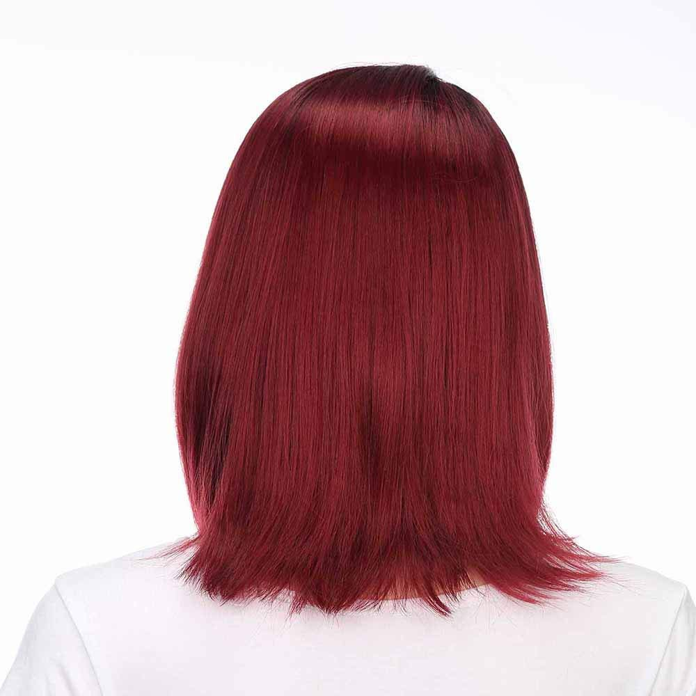 2019 Ladies Long Straight Synthetic Wigs Wine Red Lace Front with Side Parting Heat Resistant Fiber Wig for Cosplay,Party/&Daily Use Costume Wig HOT Sale!!